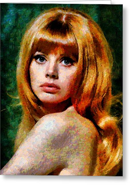 Brit Ekland - Abstract Expressionism Greeting Card by Georgiana Romanovna