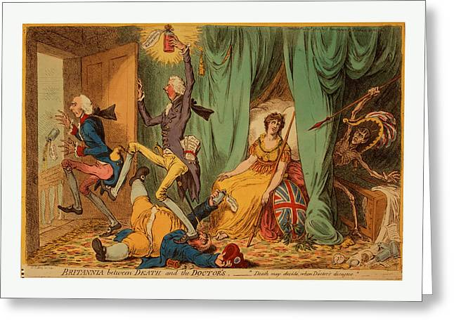 Britannia Between Death And The Doctors, Gillray, James Greeting Card by English School
