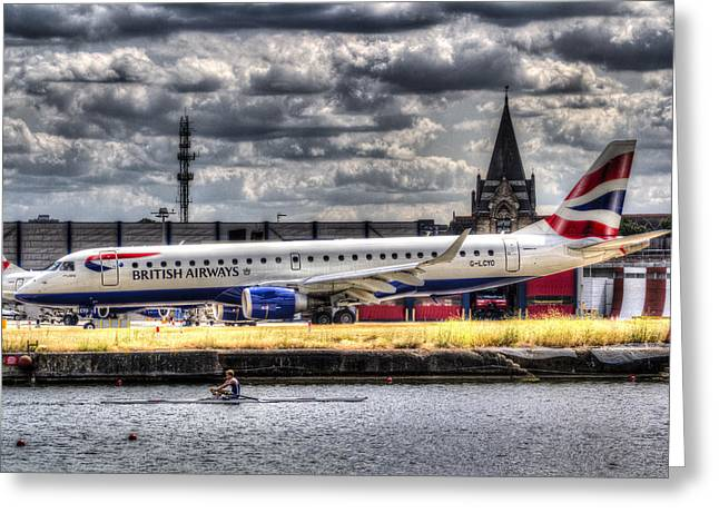 British Airways And Single Scull Greeting Card