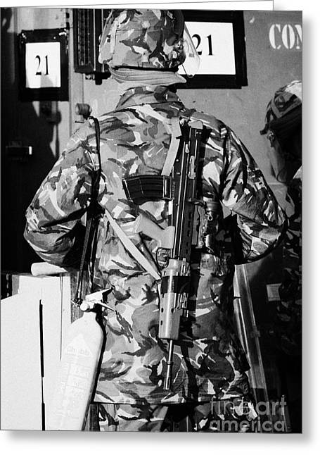 British Army Soldier In Riot Gear With Sa80 And Fire Extinguisher On Crumlin Road At Ardoyne Shops B Greeting Card by Joe Fox