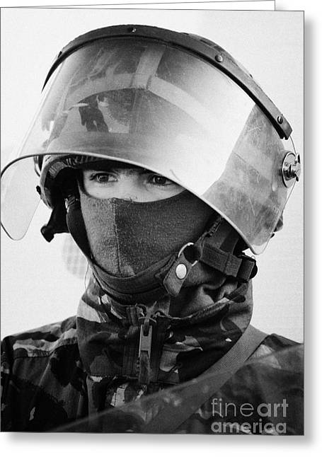 British Army Soldier With Helmet And Riot Gear On Crumlin Road At Ardoyne Shops Belfast 12th July Greeting Card by Joe Fox
