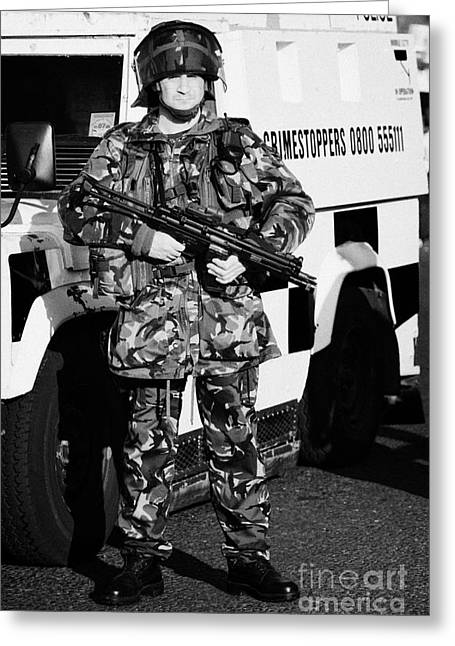 British Army Soldier With Mp5 On Crumlin Road At Ardoyne Shops Belfast 12th July Greeting Card