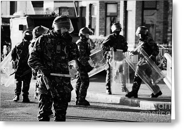 British Army Soldiers In Riot Gear On Crumlin Road At Ardoyne Shops Belfast 12th July Greeting Card
