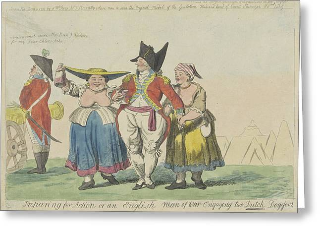 British Commander With Two Dutch Prostitutes Greeting Card by Isaac Cruikshank And Samuel W. Fores