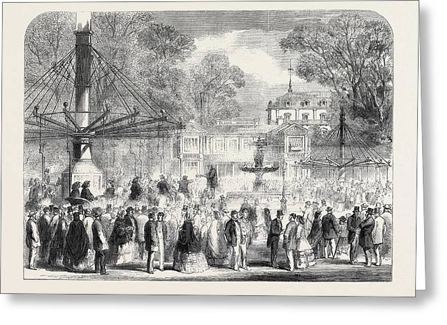 British Excursionists In The Champs Elysees The Wooden Greeting Card