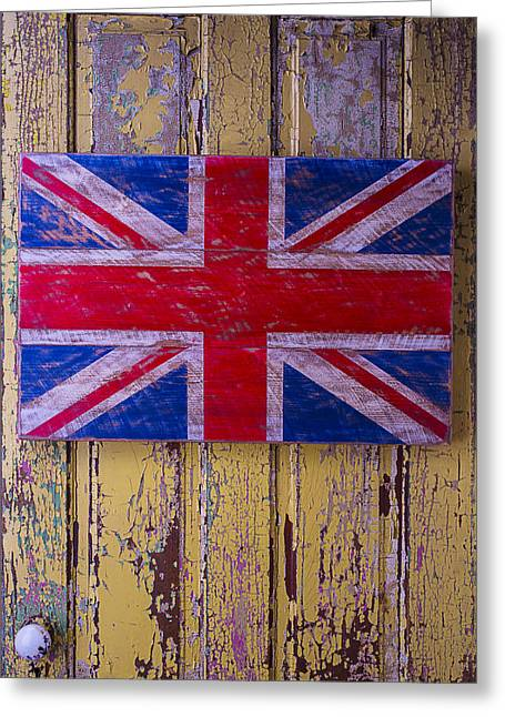 British Folk Art Flag Greeting Card by Garry Gay