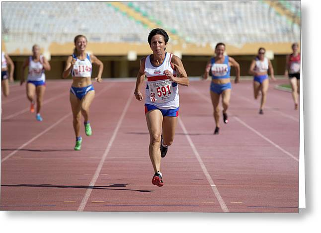 British Senior Athlete Leads The Race Greeting Card by Alex Rotas