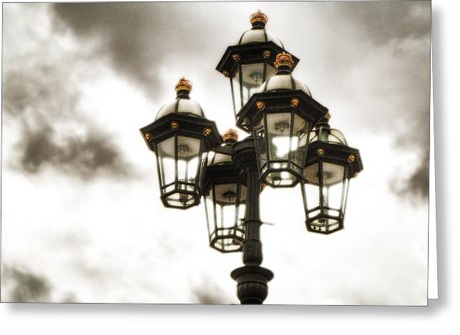 British Street Lamp Against Cloudy Sky Greeting Card