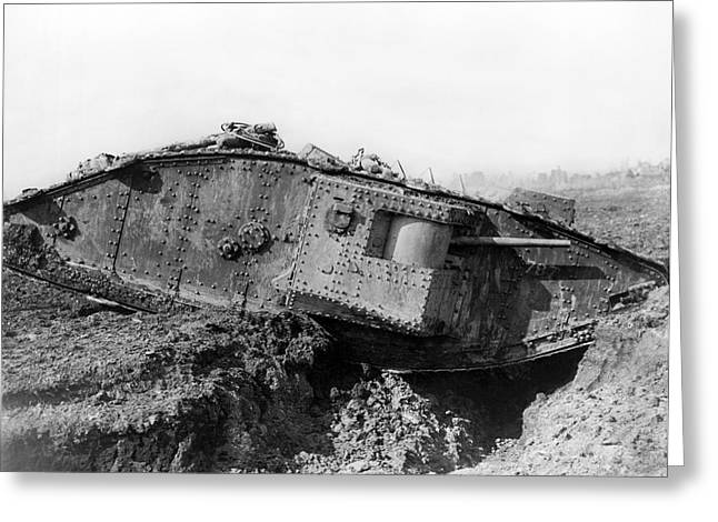 British Tank Crossing A Trench Greeting Card