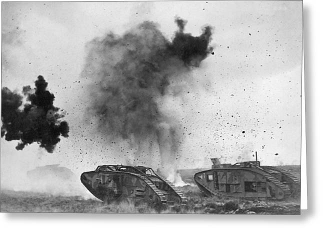 British Tanks In Wwi Battle Greeting Card by Underwood Archives