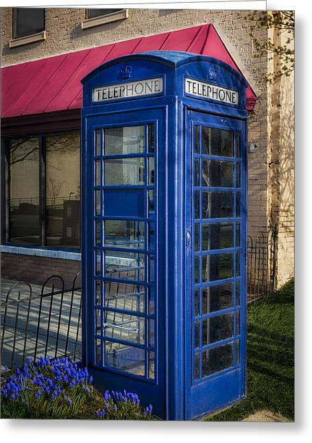 British Telephone Booth Greeting Card by Susan Candelario