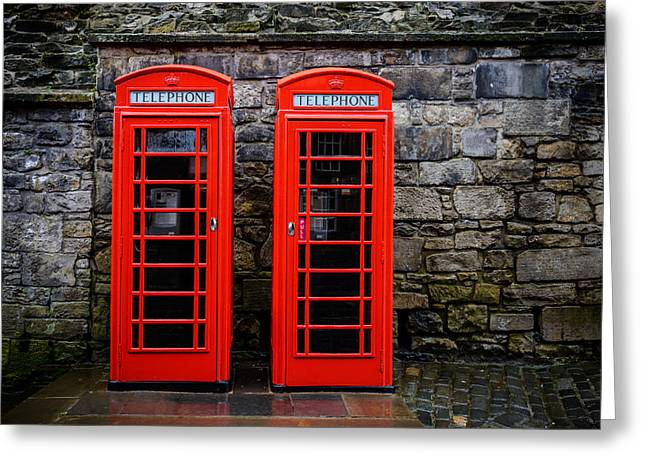British Telephone Boxes Greeting Card by Dutourdumonde Photography