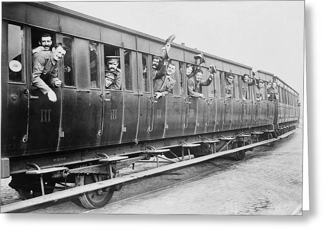 British Troops On A Train Greeting Card by Library Of Congress