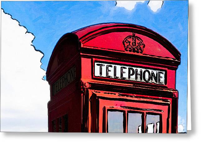 British Whimsy - Telephone Box Greeting Card by Mark E Tisdale