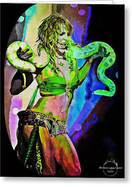 Britney Neon Dancer Greeting Card by Absinthe Art By Michelle LeAnn Scott