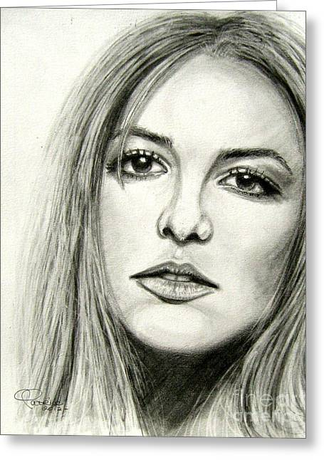 Greeting Card featuring the drawing Britney Spears by Patrice Torrillo
