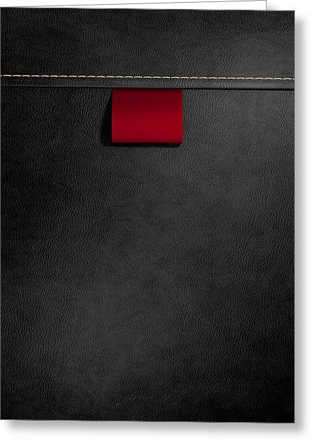 Broad Clothing Label In Black Leather Greeting Card by Allan Swart