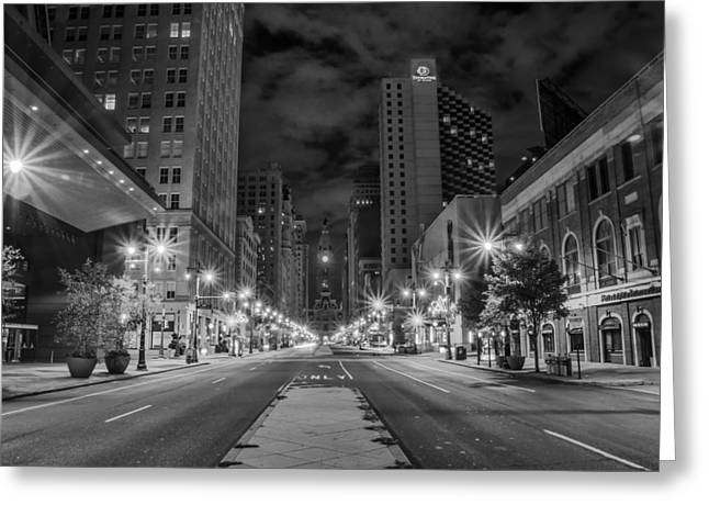 Broad Street At Night In Black And White Greeting Card by Bill Cannon