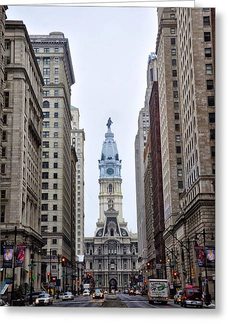 Broad Street In Philadelphia Greeting Card by Bill Cannon