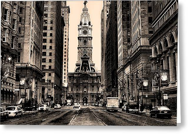 Broad Street In Philadelphia In Sepia Greeting Card by Bill Cannon