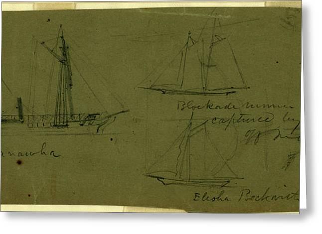 Broadside Views Of Three Ships, Kanawha Blockade Runner Joe Greeting Card by Quint Lox
