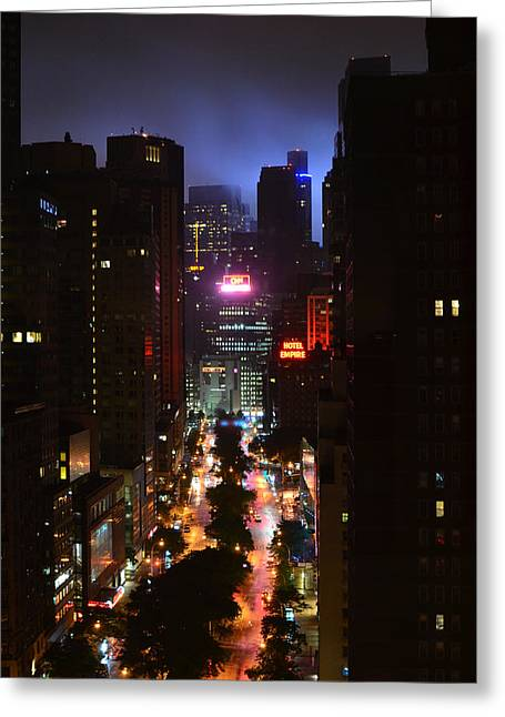 Broadway And 72nd Street At Night Greeting Card by Deprise Brescia