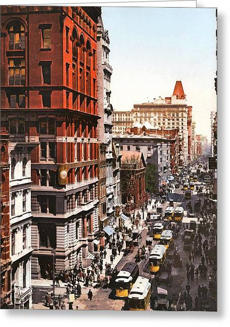 Broadway And Dey Street New York 1900 Greeting Card by Unknown