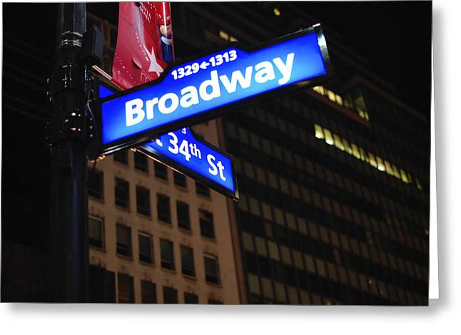 Broadway At Night New York City Greeting Card by Terry DeLuco