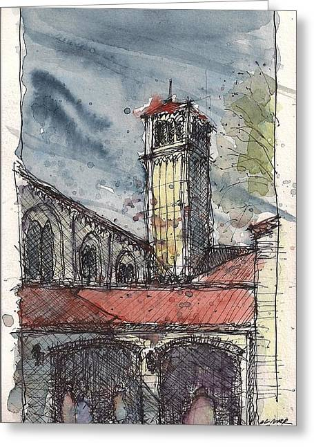 Greeting Card featuring the mixed media Broadway Church Of Christ Study by Tim Oliver