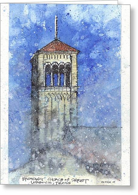 Broadway Church Tower Greeting Card by Tim Oliver