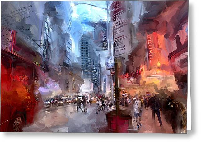 Broadway Nights Greeting Card by Evie Carrier