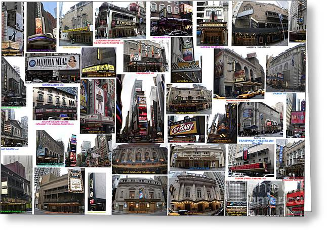 Broadway Theatre Collage Greeting Card by Steven Spak