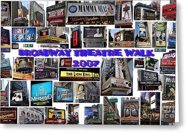Greeting Card featuring the digital art Broadway Theatre Walk 2007 Collage by Steven Spak