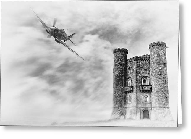 Broadway Tower Flyby Greeting Card by Peter Chilelli