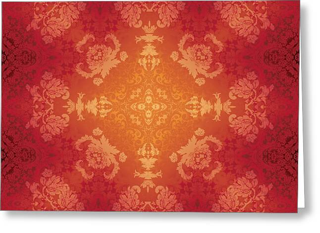 Brocade Flames Greeting Card by Charmaine Zoe