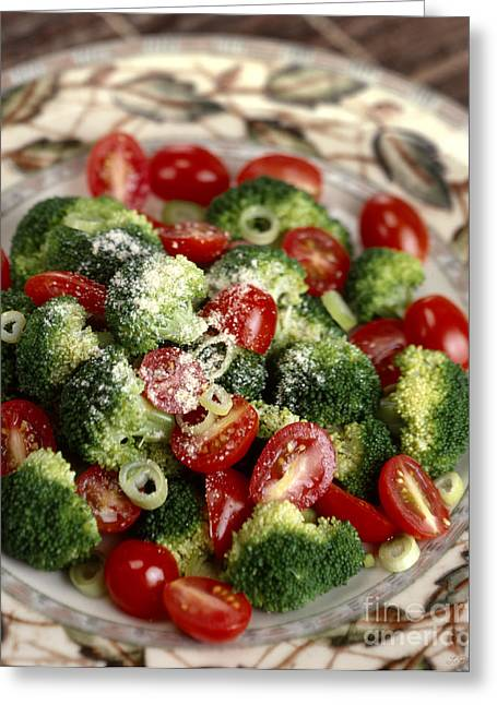 Broccoli And Tomato Salad Greeting Card by Iris Richardson