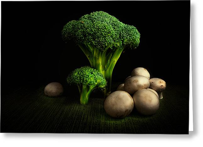 Broccoli Crowns And Mushrooms Greeting Card by Tom Mc Nemar