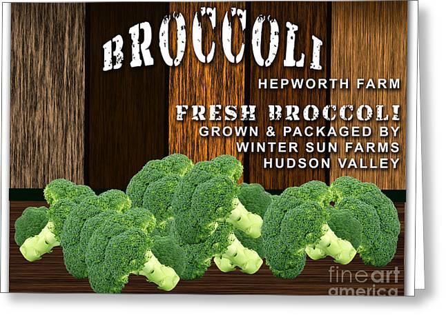 Broccoli Farm Greeting Card by Marvin Blaine
