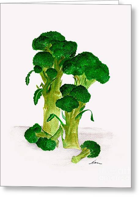 Broccoli Stalks Bright And Green Fresh From The Garden Greeting Card