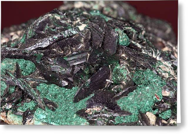 Brochantite Crystals Greeting Card by Science Photo Library