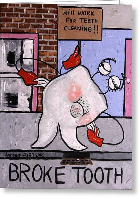 Greeting Card featuring the painting Broke Tooth by Anthony Falbo