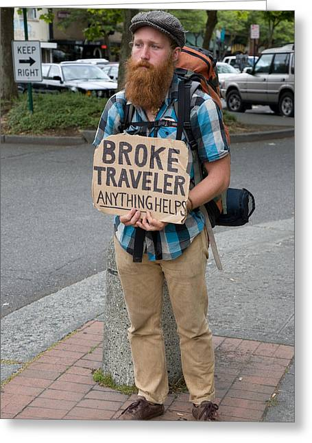 Broke Traveler Greeting Card