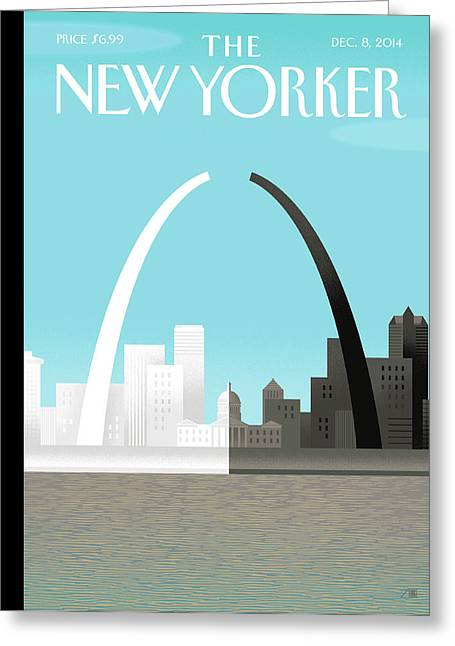 Broken Arch. A Scene From St. Louis Greeting Card by Bob Staake