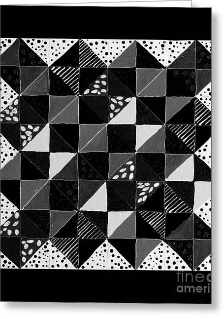 Broken Dishes - Quilt Pattern - Painting 4 Greeting Card