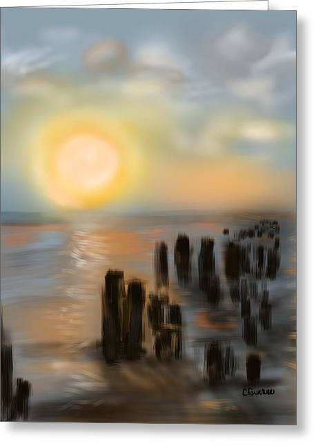 Greeting Card featuring the digital art Broken Dock by Christine Fournier