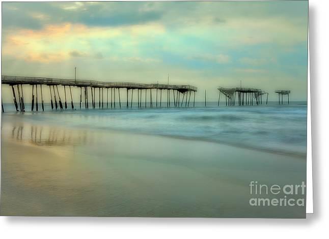 Broken Dreams - Frisco Pier Outer Banks II Greeting Card by Dan Carmichael