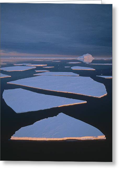 Broken Fast Ice Under Midnight Sun East Greeting Card by Tui De Roy