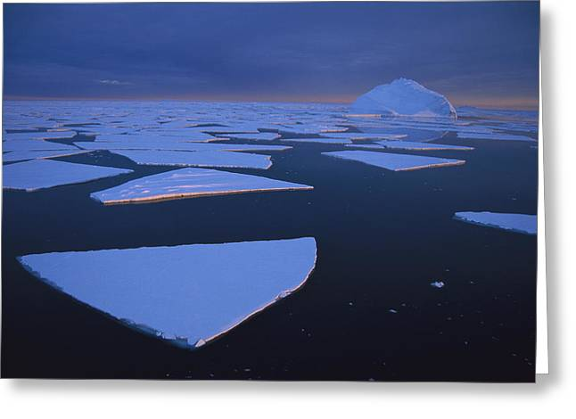 Broken Fast Ice Under Midnight Sun Greeting Card by Tui De Roy