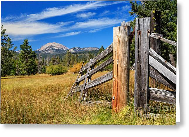 Broken Fence And Mount Lassen Greeting Card