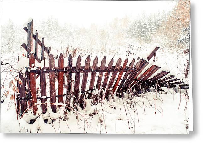 Broken Fence In Winter Greeting Card